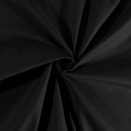 Tissu Coton Satiné extensible Noir - Par 10 cm