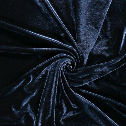 Tissu Velours jersey épais Bleu de Prusse - Par 10 cm