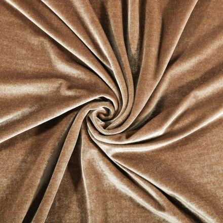 Tissu Velours jersey épais Beige - Par 10 cm