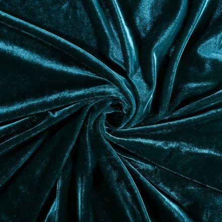 Tissu Velours jersey épais Bleu pétrole - Par 10 cm