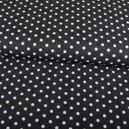 Tissu Chambray Pois 5mm Blancs sur fond Noir - Par 10 cm