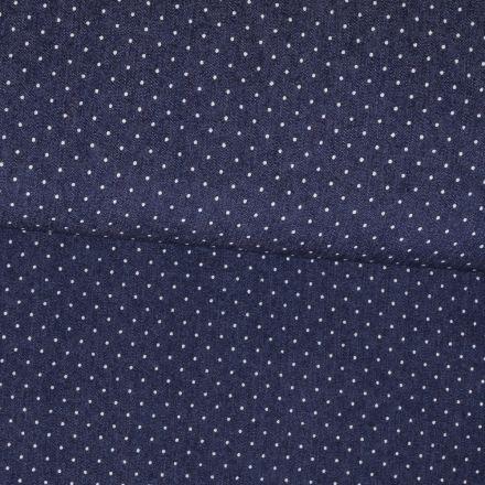 Tissu Chambray Bleu jean foncé Pois 1mm Blancs - Par 10 cm