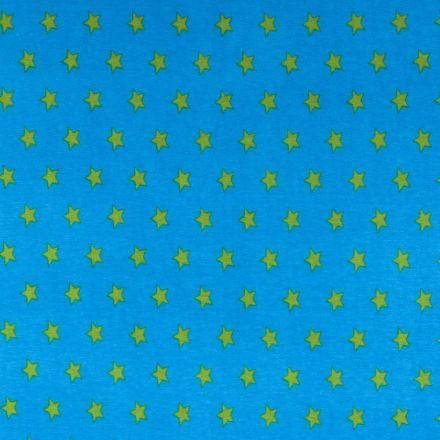Tissu Jersey Coton Etoiles 15mm Vert anis sur fond Bleu turquoise - Par 10 cm
