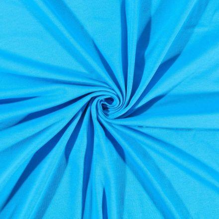 Tissu Jersey Coton uni Bleu Turquoise - Par 10 cm