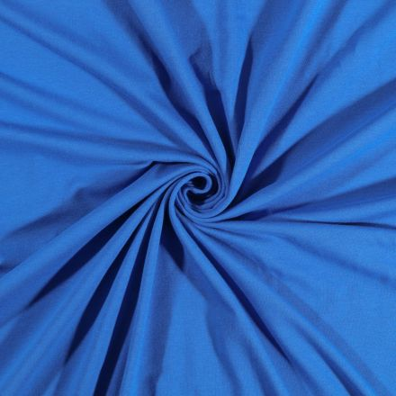 Tissu Jersey Coton uni Bleu Roi - Par 10 cm