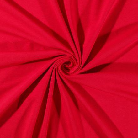 Tissu Jersey Coton uni Rouge - Par 10 cm