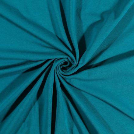Tissu Jersey Coton uni Bleu pétrole - Par 10 cm