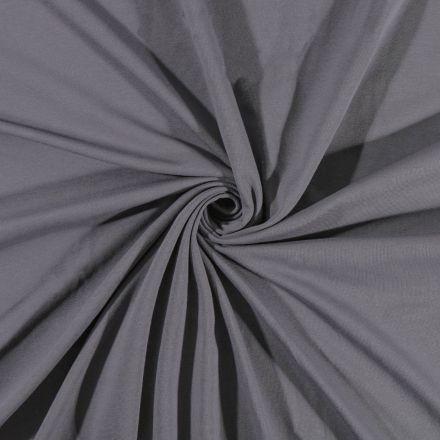 Tissu Jersey Coton uni Gris - Par 10 cm