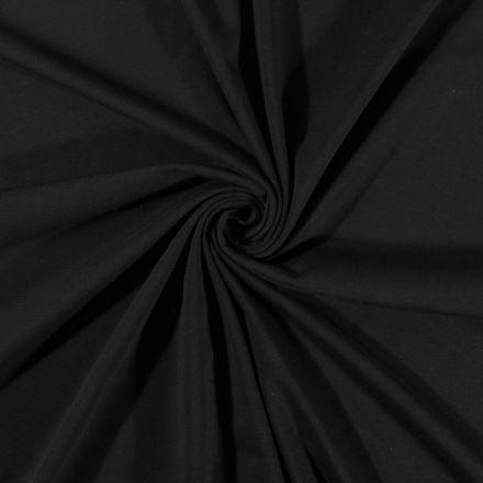 Tissu Jersey Coton uni Noir - Par 10 cm