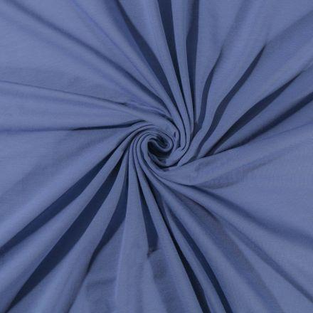 Tissu Jersey Coton uni Bleu Gris - Par 10 cm