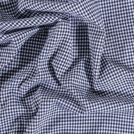 Tissu Seersucker Carreaux Bleu marine sur fond Blanc - Par 10 cm