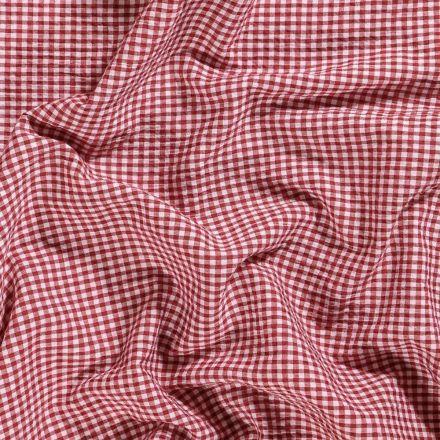 Tissu Seersucker Carreaux Rouges sur fond Blanc - Par 10 cm