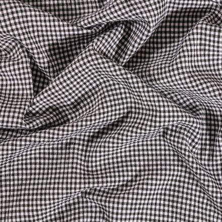 Tissu Seersucker Carreaux Noirs sur fond Blanc - Par 10 cm