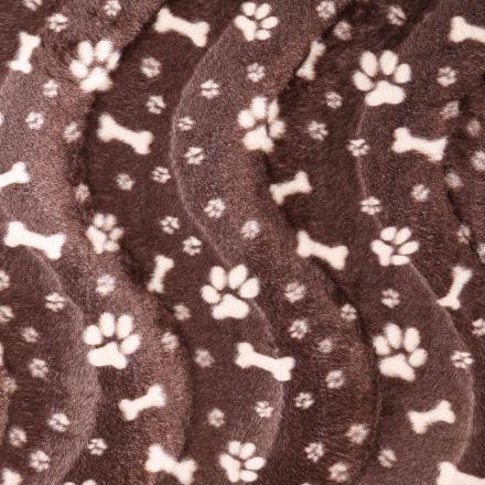 Tissu Velours Peau de bête Pattes de chiens et os Beige et Marron - Par 10 cm