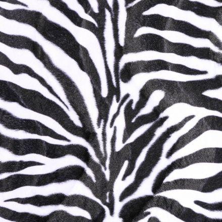Tissu Velours Peau de bête Zèbre Noir et Blanc - Par 10 cm