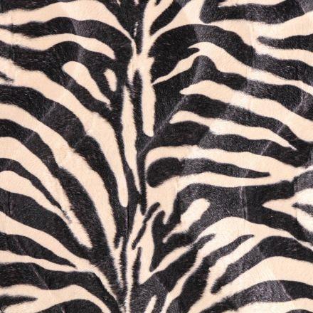 Tissu Velours Peau de bête Zèbre Beige et Noir - Par 10 cm