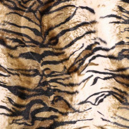 Tissu Velours Peau de bête Tigre Beige et Marron - Par 10 cm