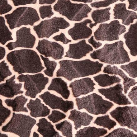 Tissu Velours Peau de bête Girafe Beige et Marron - Par 10 cm