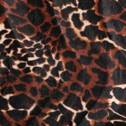 Tissu Velours Peau de bête Girafe Beige, Marron et Noir - Par 10 cm