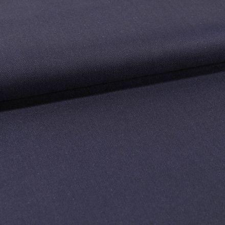 Tissu Toile Coton Canvas uni Bleu Nuit - Par 10 cm