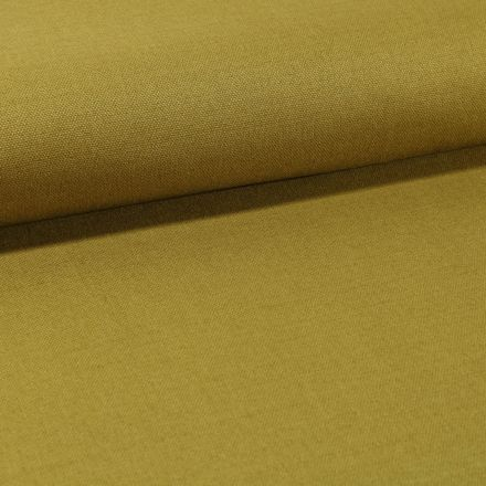 Tissu Toile Coton Canvas uni Vert Olive - Par 10 cm