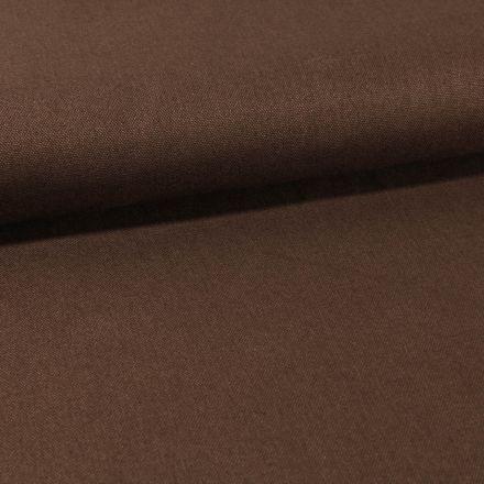 Tissu Toile Coton Canvas uni Marron Chocolat - Par 10 cm