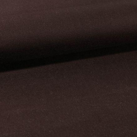 Tissu Toile Coton Canvas uni Marron Ebène - Par 10 cm