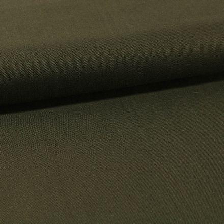 Tissu Toile Coton Canvas uni Vert Kaki Foncé - Par 10 cm