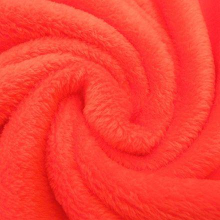 Tissu Doudou uni Rouge orangé x10cm