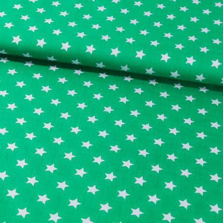 Tissu Coton Imprimé Etoiles 15 mm Blanches sur fond Vert - Par 10 cm