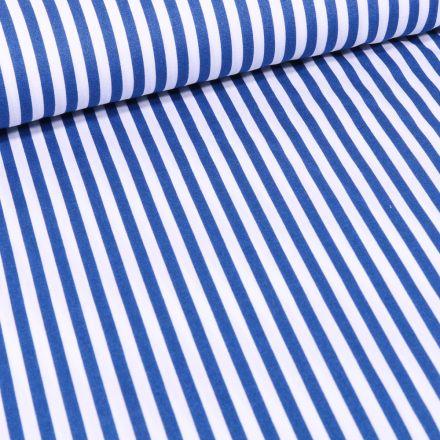 Tissu Coton imprimé Rayures 5 mm bleu roi sur fond Blanc
