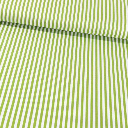 Tissu Coton Imprimé Rayures 5 mm Vert pomme sur fond Blanc - Par 10 cm