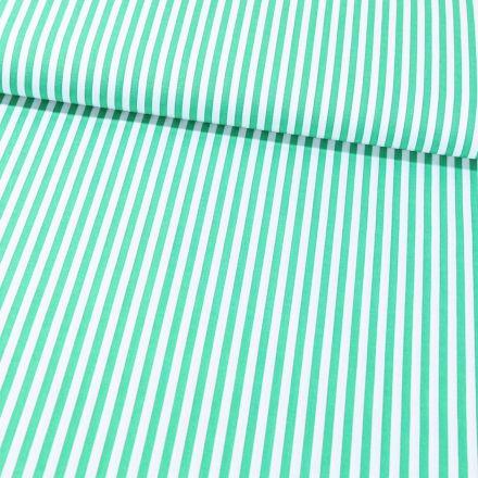 Tissu Coton Imprimé Rayures 5 mm Vert sur fond Blanc - Par 10 cm