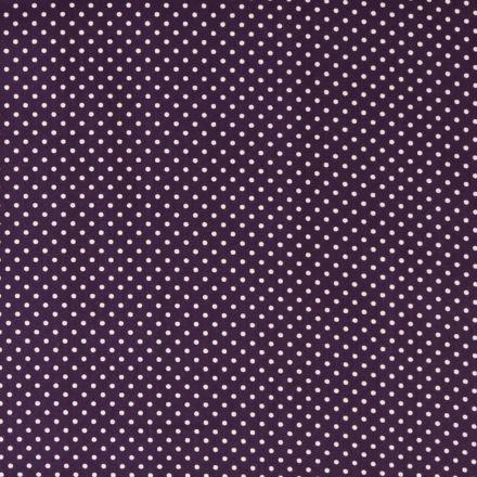 Tissu Coton imprimé Violet Pois 3 mm Blancs - Par 10 cm