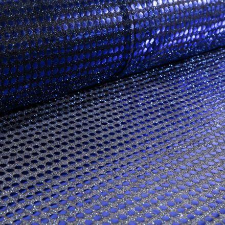 Tissu Jersey Paillettes Bleu Roi sur fond Noir - Par 10 cm