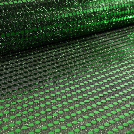 Tissu Jersey Paillettes Vertes sur fond Noir - Par 10 cm