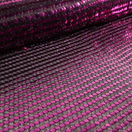 Tissu Jersey Paillettes Violettes sur fond Noir - Par 10 cm