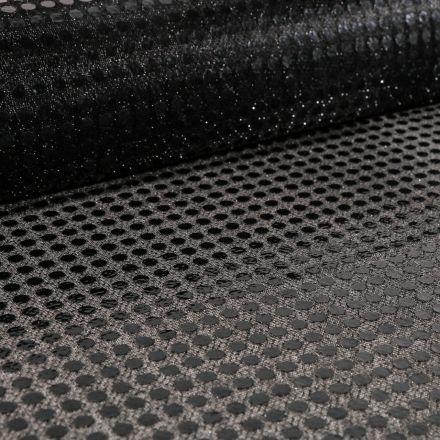 Tissu Jersey Paillettes Noires sur fond Noir - Par 10 cm