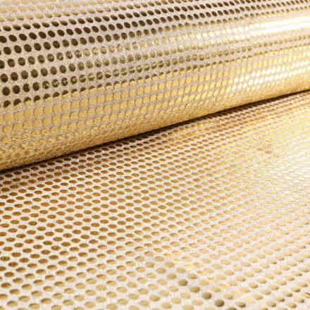 Tissu Jersey Paillettes Dorées sur fond Ecru - Par 10 cm