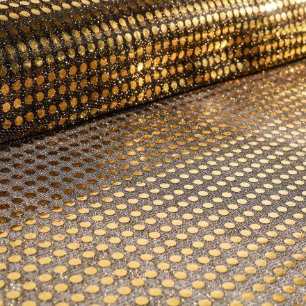 Tissu Jersey Paillettes Dorées sur fond Noir - Par 10 cm