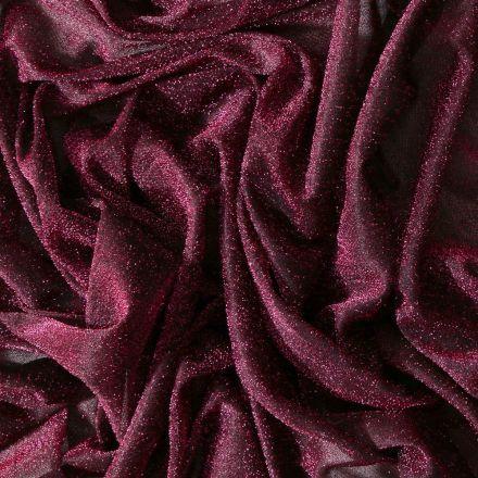 Tissu Voile de jersey pailleté Fuschia - Par 10 cm