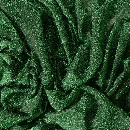 Tissu Voile de jersey pailleté Vert - Par 10 cm