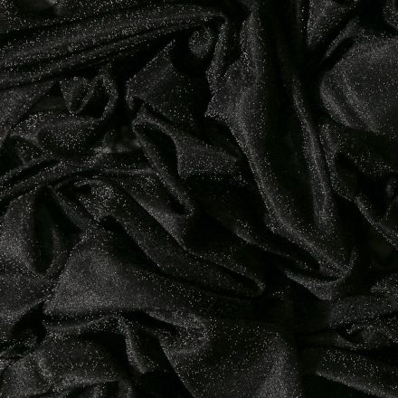 Tissu Voile de jersey pailleté Noir - Par 10 cm