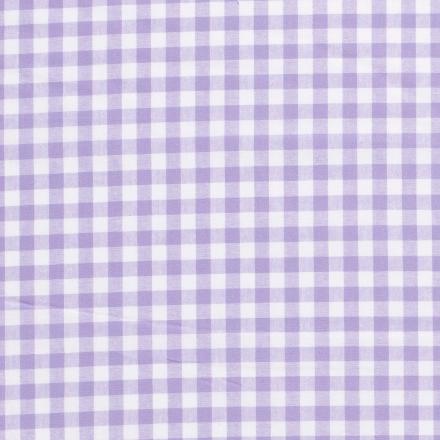 Tissu Vichy Grands carreaux 10 mm Lavande - Par 10 cm