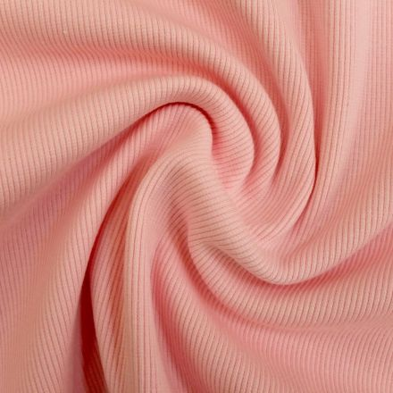 Tissu Bord côte Rose bébé x10cm