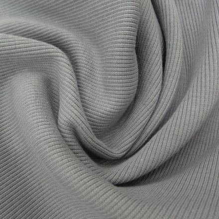 Tissu Bord côte Gris x10cm