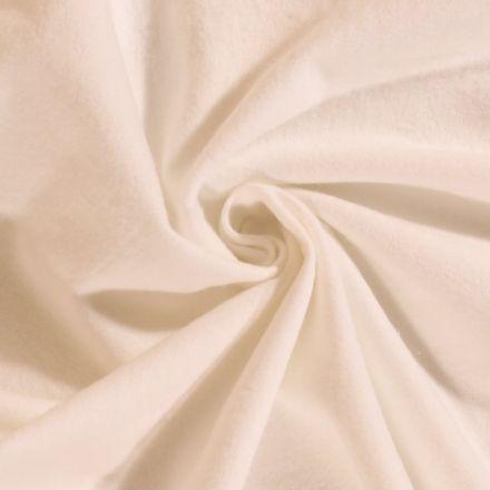 Tissu Flanelle de coton uni Blanc Cassé - Par 10 cm
