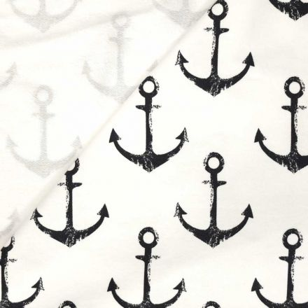 Tissu Jersey Coton Blanc Ancres bleu marine - Par 10 cm
