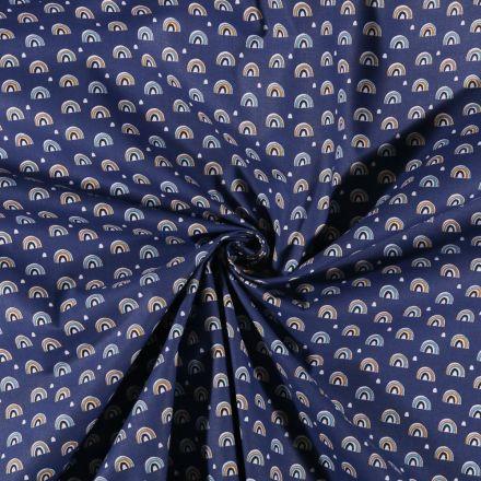Tissu Jersey Coton imprimé Arc-en-ciel Bleu - Par 10 cm