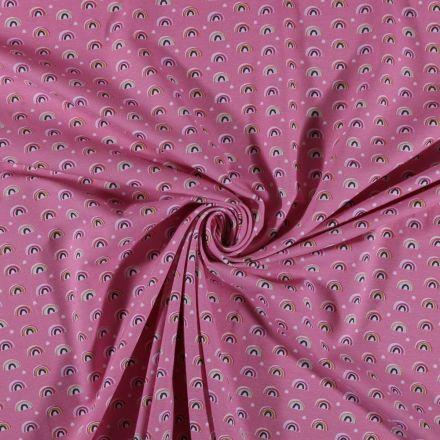 Tissu Jersey coton Arc en ciel sur fond Rose - Par 10 cm
